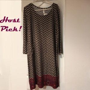 Chevron Knit Shift Dress